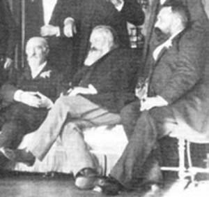 Brahms (center) and Mühlfeld (right), with Eduard Hanslick (left)
